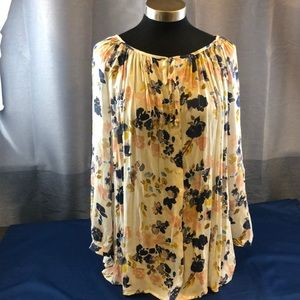 Lucky Brand size 1X floral Boho Relaxed Blouse